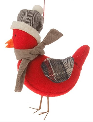 4.75″ Alpine Chic Red Bird with Gray Scarf and Plaid Wings Christmas Ornament