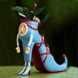 Patience Brewster Krinkles Blue High Heel Shoe Christmas Ornament