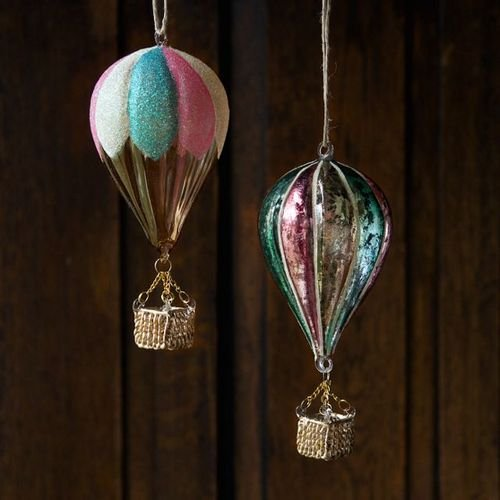 One Hundred Degrees Hot Air Balloon Hanging Ornaments (Set/2)