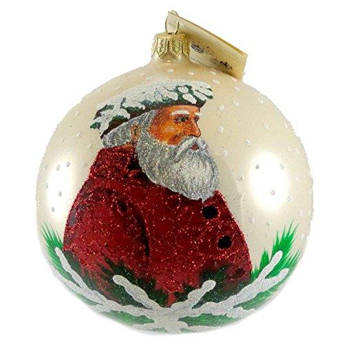 Christina's World HOLLY & IVY SANTA Glass Ornament Christmas Ball Tra421