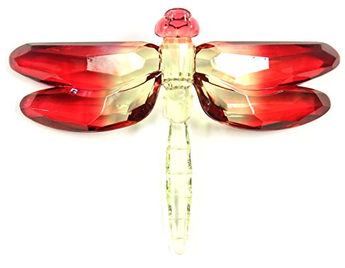 Crystal Expressions Acrylic 4×6 Inch Dragonfly Ornament/ Sun-Catcher (Red)