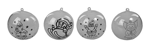 Christmas Paint Your Own Ornament Set with Santa Decoration – 3.25″ Set of (36) Clear Plastic Snap