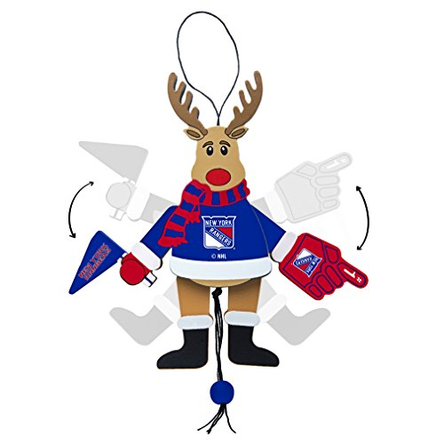 NHL New York Rangers Wooden Cheer Ornament, Brown, 5.25″