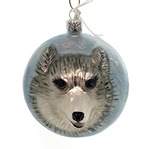 Christina's World HUSKY FIGURAL ORNAMENT Glass Dog Alaska Zoo892