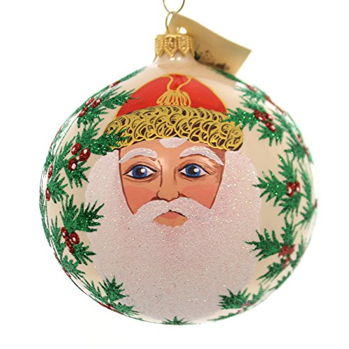 Christina's World PASHA SANTA Glass Ornament Ball Holly Berries Tra429