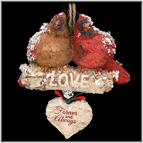 "Kurt Adler 4.5″ Resin Cardinals ON Birch Branch Orn: ""love Forever And Always."""