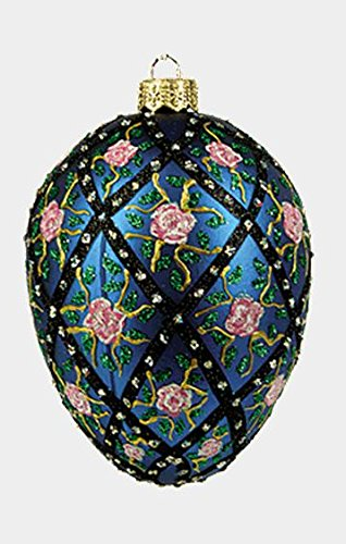 Blue Rose Trellis Egg Faberge Inspired Polish Mouth Blown Glass Holiday Ornament