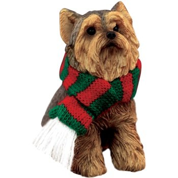 Sandicast Yorkshire Terrier with Red and Green Scarf Christmas Ornament