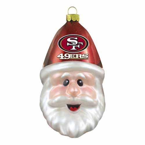 NFL San Francisco 49ers Blown Glass Santa Cap Ornament