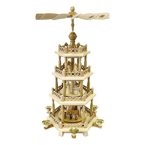 Alexander Taron Importer 16799 Richard Glaesser 4 tiers Decorative Pyramid with Snowmen, Church, Animals, 22.5″ x 12″ x 12″ by Alexander Taron Inc.