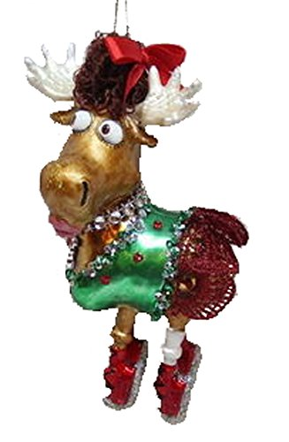 December Diamonds Blown Glass Ornament – Moose in Red Skirt and Red Bow.