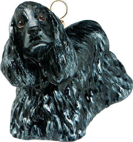 Black Cocker Spaniel Pet Dog Standing Polish Blown Glass Christmas Ornament