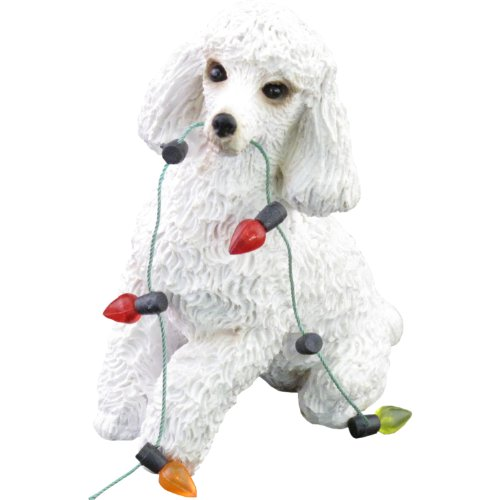 Sandicast White Poodle Holding Holiday Lights Christmas Ornament