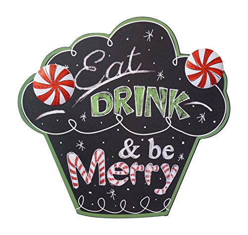 Festive Holiday Chalkboard Hanging Sign with Metal and Glitter Accents (Eat Drink & Be Merry)