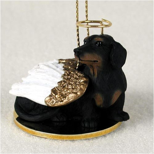 Dachshund Angel Dog Ornament – Black & Tan
