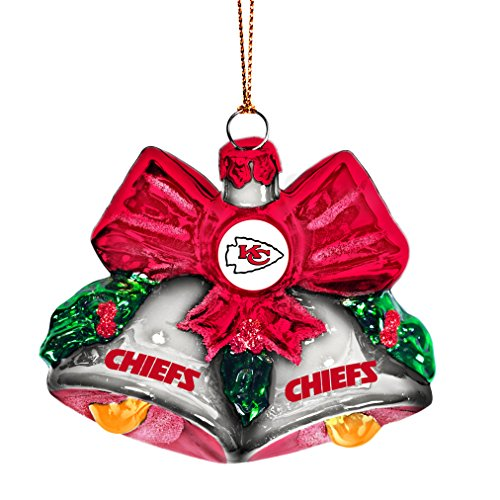 NFL Kansas City Chiefs Glitter Bells Ornament, Green, 3″ x 3″