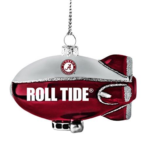 NCAA Alabama Crimson Tide Glitter Blimp Ornament, Silver, 3″ x 2.25″