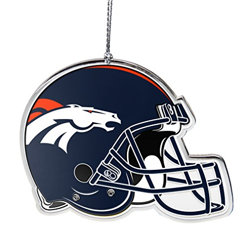 NFL Denver Broncos Flat Metal Helmet Ornament, Silver, 3″ Width and 2.25″ Height