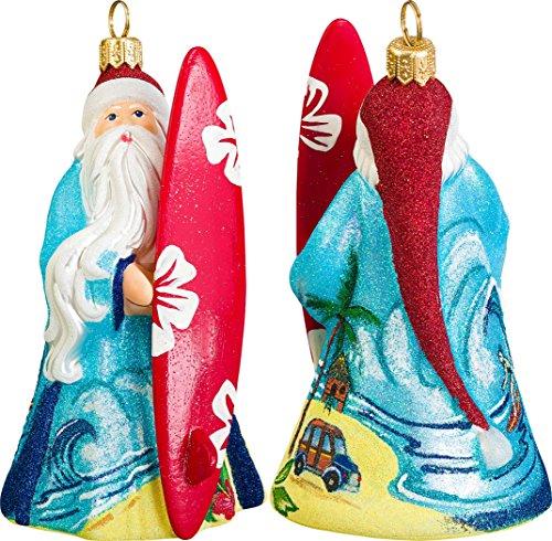 Glitterazzi Surfing Santa Ornament by Joy to the World