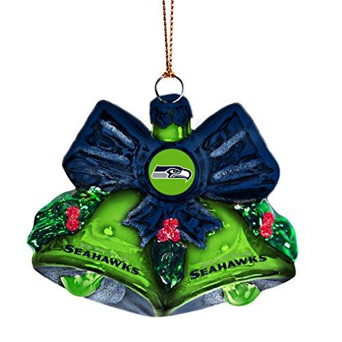 NFL Seattle Seahawks Glitter Bells Ornament, Green, 3″ x 3″