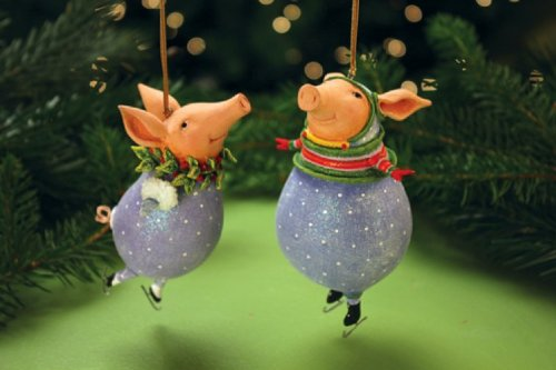 Patience Brewster Krinkles Fred & Esther Pig Ornaments 2013 2 Assorted