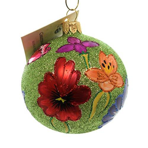 Christina's World GLITTER POPPYS ON LIME GREEN Ornament Flowers Ball Gar8788
