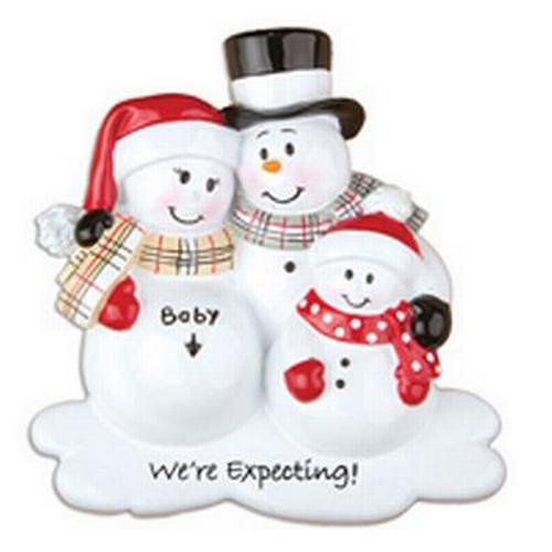 Pregnant We're Expecting Snowmen Family of 3 Christmas Ornament