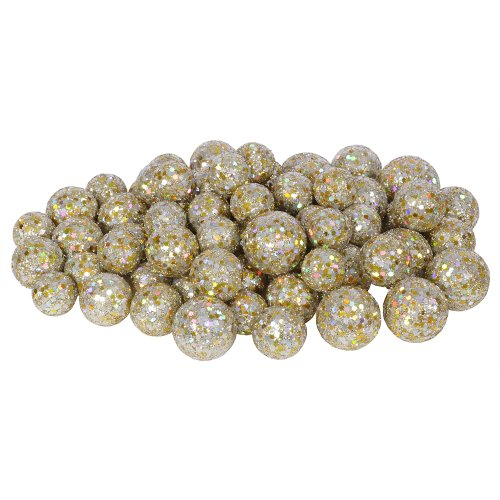 72ct Champagne Sequin and Glitter Christmas Ball Decorations 0.8″ – 1.25″