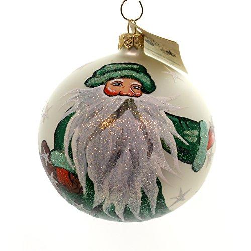 Christina's World GREEN ROBED SORCERER SANTA Glass Ball Ornament Tra411