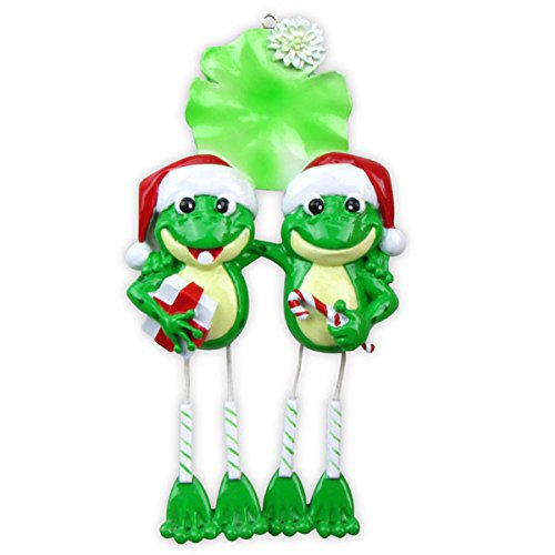 Frog Couple Dangle Legs Personalized Christmas Ornament