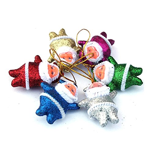 CYNDIE Hot Sale New Lot 6pcs Glitter Santa Claus Christmas Tree Decoration Hanging Pendant Ornaments Best Price Gift