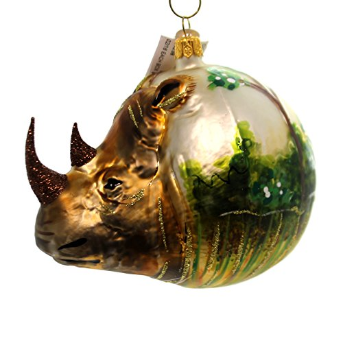 Christina's World RHINOCEROS FIGURAL Glass Ornament Africa Asia Zoo839
