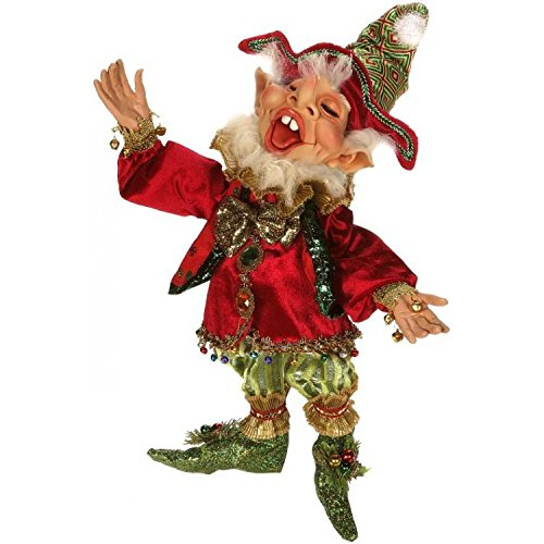 Mark Roberts Elves, Northpole Clown Elf, Medium 16 Inches Packaged with an Official Mark Robert Gift Bag
