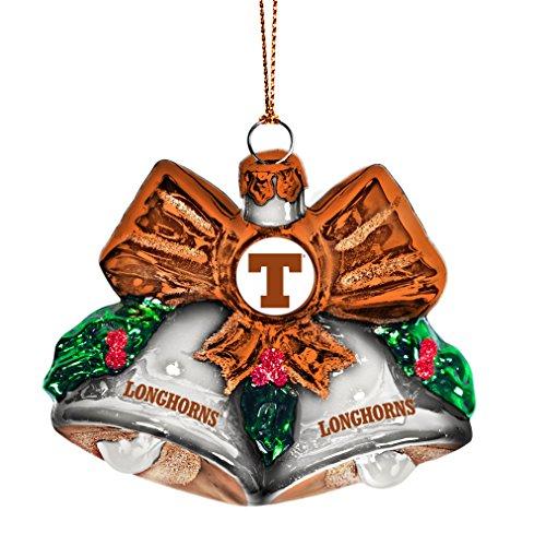 NCAA Texas Longhorns Glitter Bells Ornament, Green, 3″ x 3″