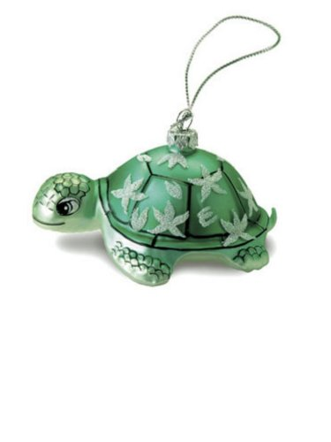 Hawaiian Honu Turtle Glass Ornament With Glitters – Green Sea Turtle