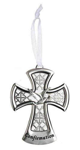 Dove Confirmation 4 x 3 inch Zinc Inspirational Decorative Cross Ornament