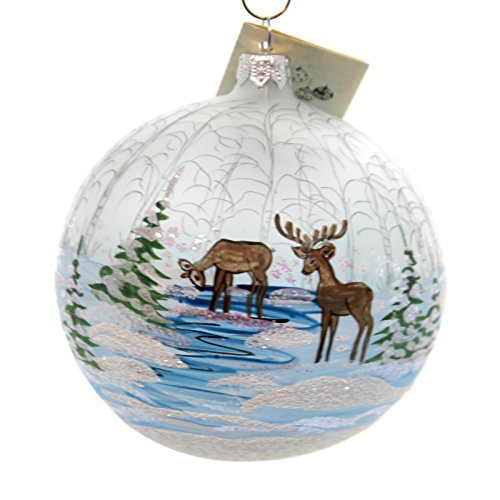 Christina's World REINDEER GRAZING IN FOREST Glass Ornament Ball Winter Tra438