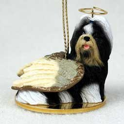 Shih Tzu Angel Dog Ornament – Black & White
