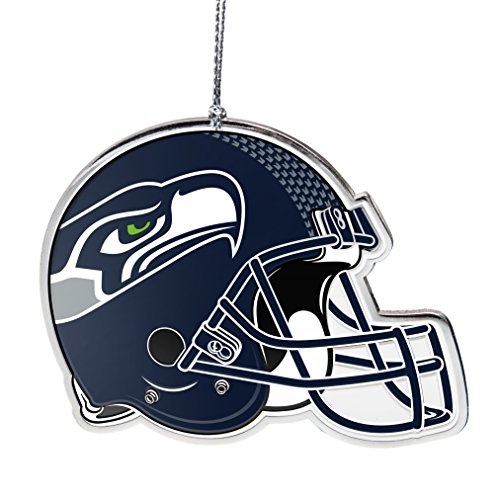 NFL Seattle Seahawks Flat Metal Helmet Ornament, Silver, 3″ Width and 2.25″ Height