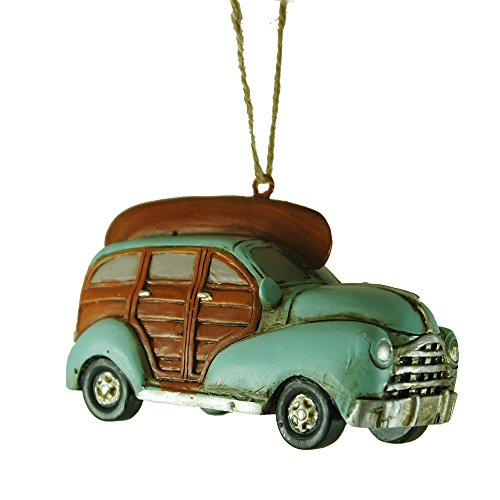 Mint 40's Woodie Car with Canoe Hanging Christmas Tree Ornament