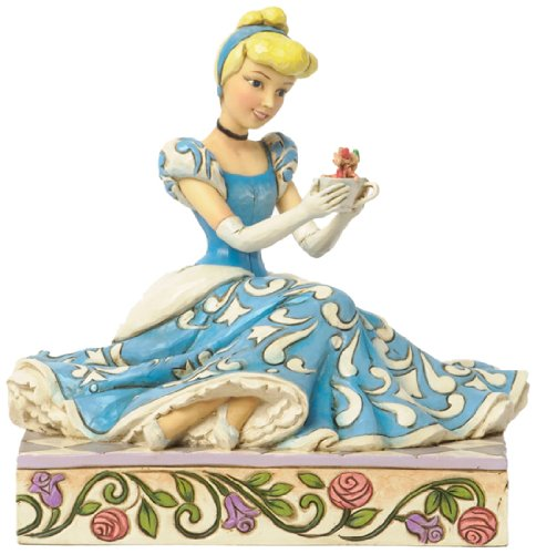 Jim Shore for Enesco Disney Traditions Cinderella with Jaq and Gus Figurine, 5.375-Inch