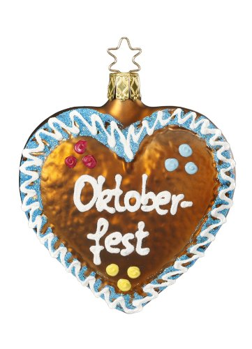 Inge Glas Oktoberfest Heart Treat Mouth Blown Glass German Christmas Ornament