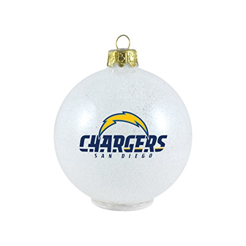 NFL San Diego Chargers LED Color Changing Ball Ornament, 2.625″, White
