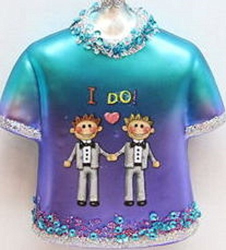 "December Diamonds Sweet Blue Glass Shirt Ornament with Image of Two Men in a Tux saying ""I DO"". Celebrate Gay Marriage & Remember this Life Changing Opportunity with this Ornament as you Decorate every Christmas!!"