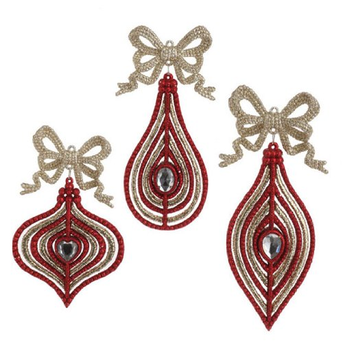 RAZ Imports – Red and Gold Ornaments with Bows