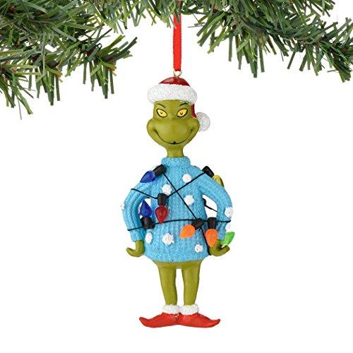 Department 56 Classics Grinch Lights Sweater, Blue