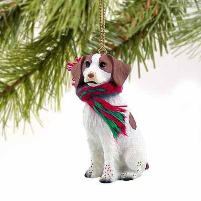 Brittany Spaniel Miniature Dog Ornament – Brown & White