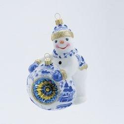 5.7″ David Strand Designs Glass Deck the Halls Snowman Crown Sparkle Christmas Ornament
