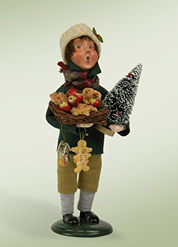 10″ Caroler Boy with Tree and Gingerbread Ornaments Christmas Table Top Decoration