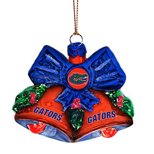 NCAA Florida Gators Glitter Bells Ornament, Green, 3″ x 3″